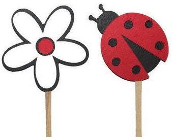 Ladybug cupcake toppers - 12