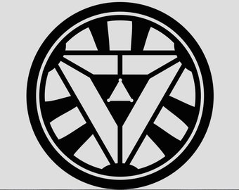 Iron Man style Arc Reactor Decal cut out of permanent vinyl (Blue, Green, Black, White, Red)