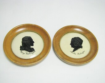 Black and White/ Silhoutte Set/ George and Martha Washington/Froese/ Patriotic/ Wall Hanging/ Historical/ Pictures/ 50s/ Early America