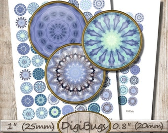 Digital Collage Sheet, Round Mandala Images, 20 mm, 25 mm, Blue Printable Kaleidoscope, 1 inch, 0.8 inch Circles, Instant Download, c5