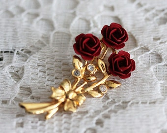 Vintage brooch, branche with roses