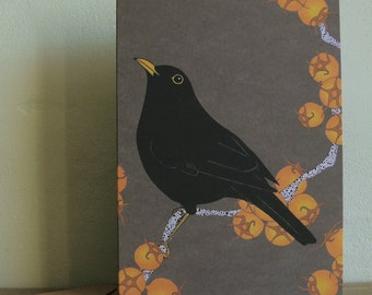 Blackbird & king hawthorn greetings card