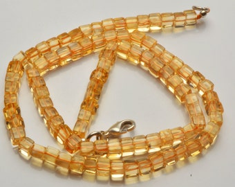 Natural 16 inch  Super Rare AAA Citrin  Smooth  3D Box Cube Shape Beads Necklace  Size 4 TO 4.5 MM