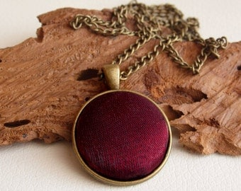 Marsala satin necklace, vintage necklace, bronze jewelry, burgundy necklace, autumn necklace, fall jewelry, elegant jewelry
