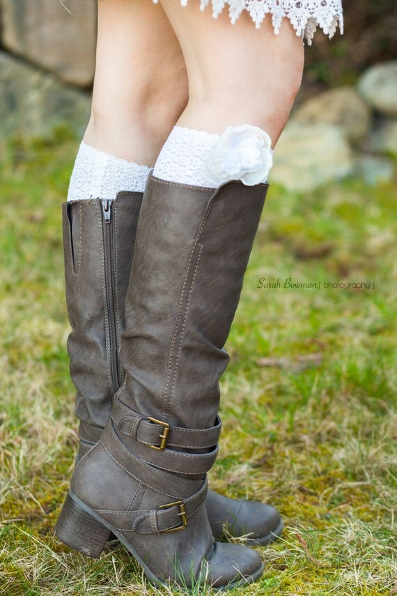Beautiful ivory scalloped stretch lace boot cuff with chiffon flower detailing