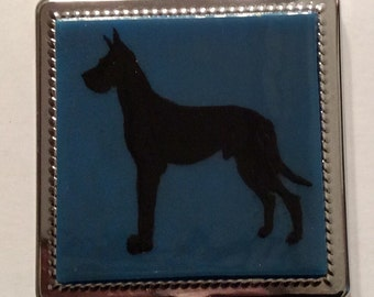 Mirror--Black Great Dane purse mirror.