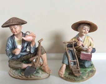 Exquisite Old Asian Farmers Man and Woman Having Food and Drink Statutes, Kelvins.