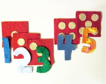 Counting 1 - 5 Matching Game -- preschool matching game -- number dot matching