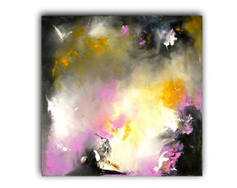 Large Original Abstract Painting, Oil Painting , Contemporary art, Modern art, abstract art, yellow, purple, white, black.
