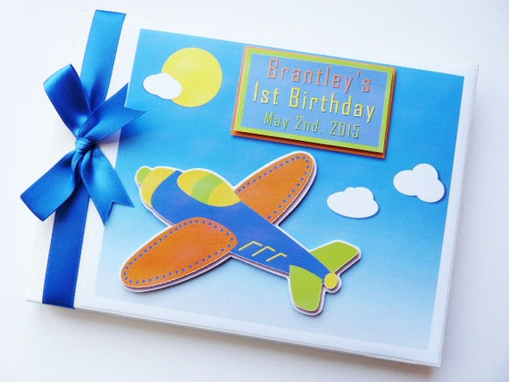 Vintage planes birthday guest book personalised memory for J bathrooms westcliff