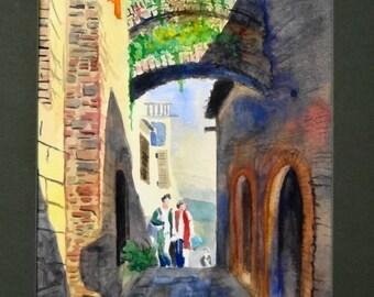 Original watercolor, Montacino street-Italy-old buildings-cobblestone street-sunlight-shadows-people walking-stone buidings-Europe