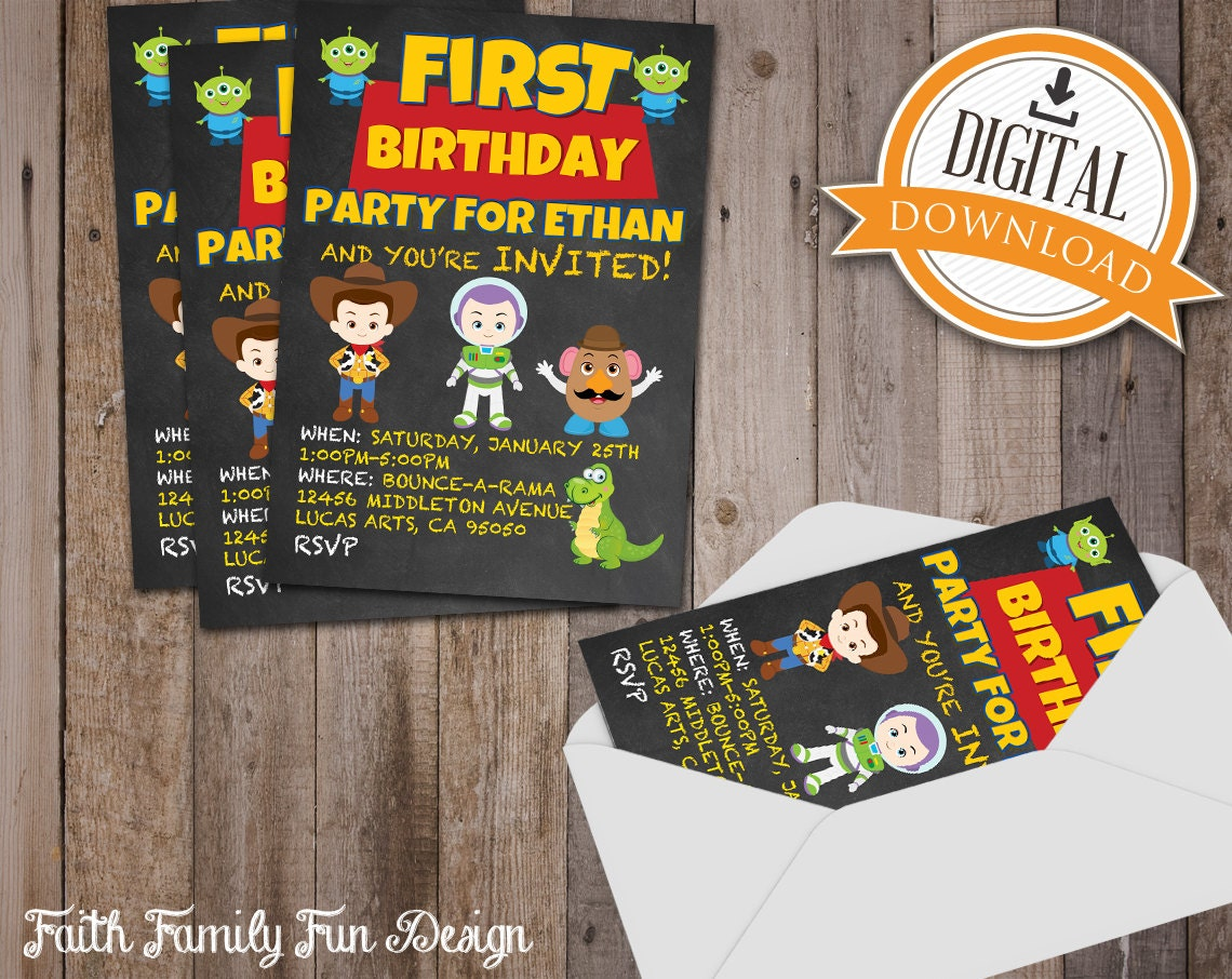 disney pixar toy story birthday invitations. any party theme, Party invitations