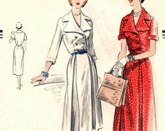"Vogue 7366 Haute ""Coat"" Dress with Big Shaped Collar 1951 / SZ16 Factory Folds"