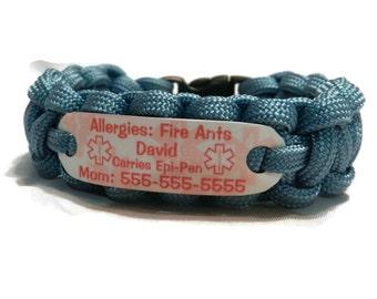 Fire Ant Allergy Bracelet - Waterproof Medical Alert Jewelry - Paracord ID Bracelet for children**