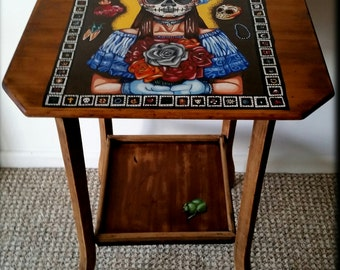 Vintage Shabby Hall Table Up styled with Hand Painted Mexican Day of the Dead Art work
