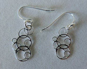 Tiny Bubbles Earrings,  Bubble Earrings, Silver Bubbles Earrings,