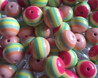 Easter Striped 20mm Beads- 10pc Chunky Bubblegum Beads