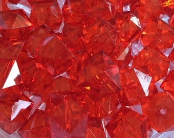 Red Cube 20mm Transparent Beads- 10pc Chunky Bubblegum Beads