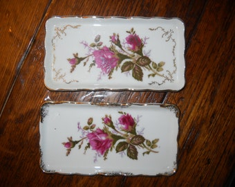 Royal Sealy Japan  Rectangle Trinket Dishes - Rose Pattern - Set of 2