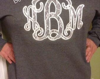 Ladies Lace Vine Appliqué Sweatshirt
