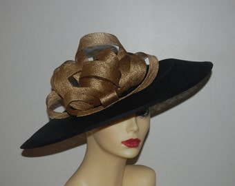 Black & Gold flat style feature hat with gold sinamay loops-- Style Name Gospel Made to Order