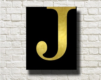 J Letter Initial Gold Black Printable Instant Download Digital Art Wall Art Print Poster Home Decor G58b