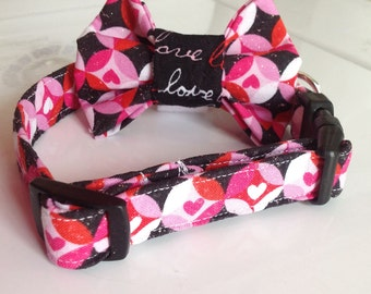 Valentine's Day Dog & Cat  Bow Tie Collar - Hearts with Love