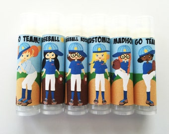5pc Girls Softball Party Favors/Baseball Party Favors/Baseball/Party Favors/Girl Birthday Party/Lip balm/Chapstick Party Favor/Gift Bags