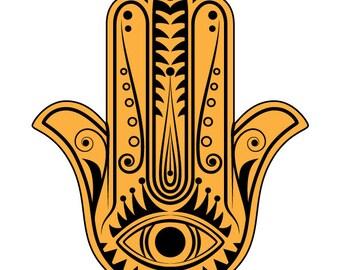 Hamsa Hand vector, Hand of Fatima vector clipart, Instant download
