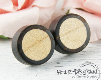 Earstud Fake plug from wood with circle inlay mini earrings small ear studs natural wood fake gauge customzieable illusion