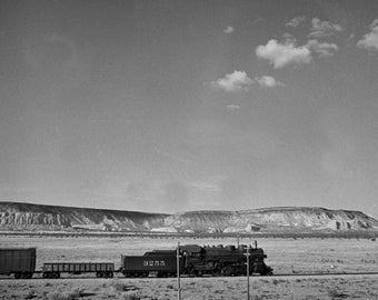 Chaves New Mexico. Freight train in desert landscape 1943. Copy of photo by Jack Delano