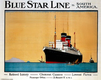 Blue Star Line to South America shipping company promotional postcard reproduction