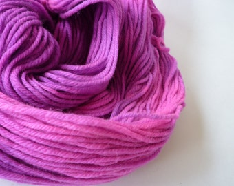 Hand Dyed Yarn, Worsted Weight Yarn, Superwash Merino Wool, Purple Fuschia Pink