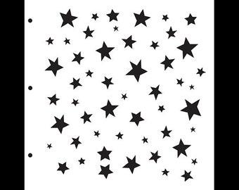 """Simple Funky Stars Stencil - 11.5"""" x 11.5""""-  SKU: STCL237 by StudioR12"""
