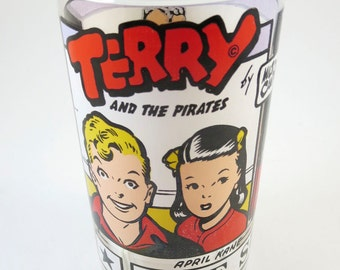 """Vintage Terry and the Pirates 1976 Glass """"The Sunday Funnies"""" by Milton Caniff 1976 News Syndicate Inc. Drinking Glasses Tumblers Comic Book"""