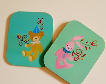 Hand painted/acrylic painting/home decor/ folk art wooden coaster with a set of two