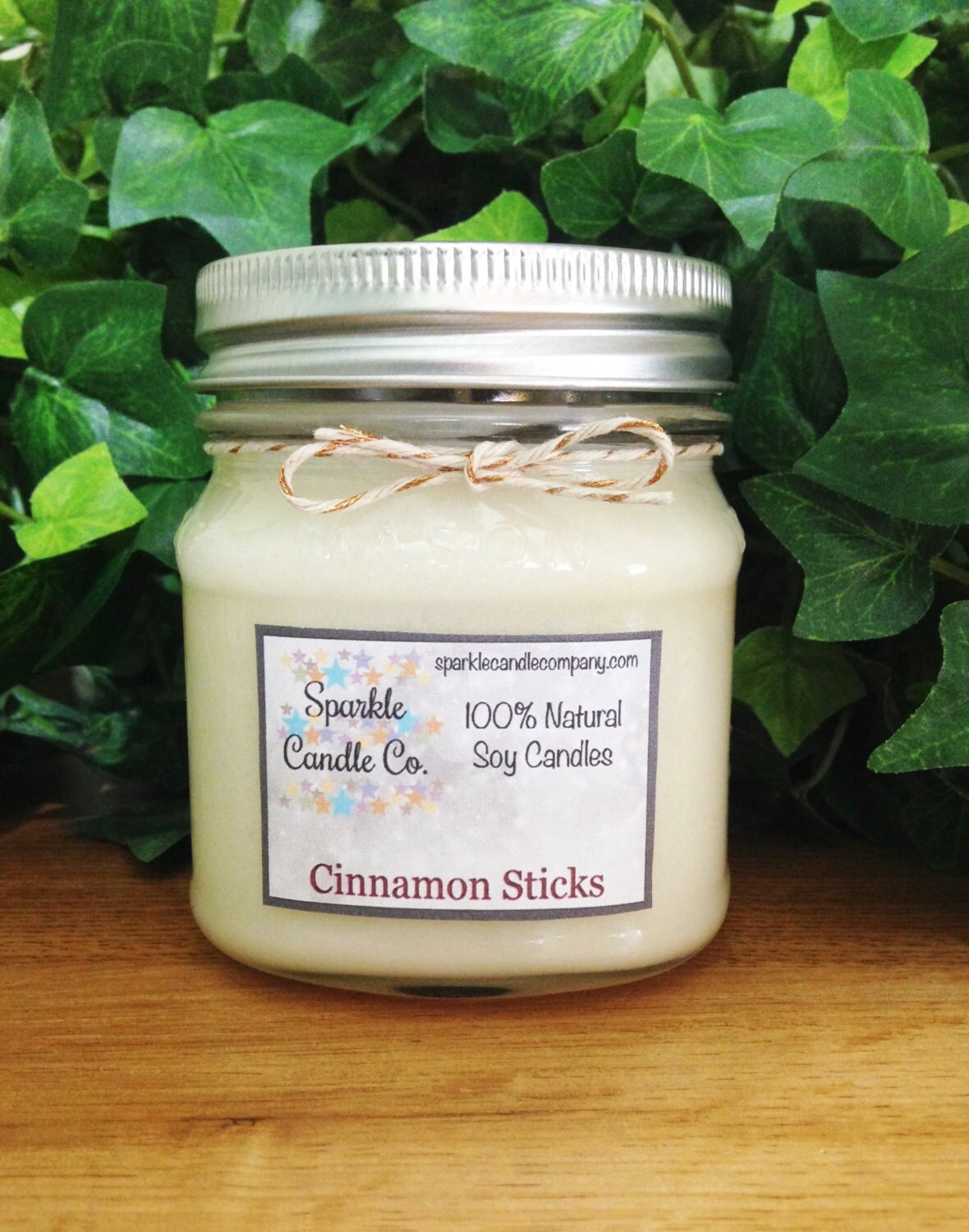 Soy Candle CINNAMON STICKS 8 oz Mason Jar by SparkleCandleCo
