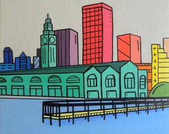 Rainbow Ferry Building - San Francisco painting