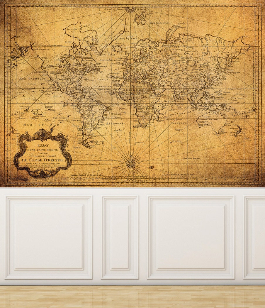 Wall Mural Vintage Map Of The World Peel And Stick