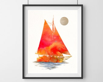 Watercolor boat print Orange boat print Boat poster Sailing boat print Wall decor Wall hanging Home art decor Boat gift-1