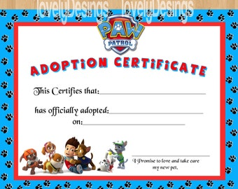 Paw Patrol Adoption Certificate PRI NTABLE INSTANT DOWNLOAD party ...