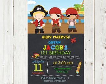 Pirate Invitation Birthday Printable Chalkboard, Pirate Party, Pirate Printable