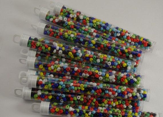 Tube seed beads multi coloured boho tribal