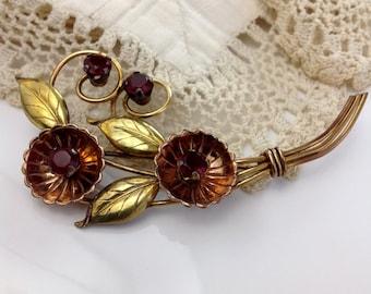 Signed Harry Iskin 1/20 12K Gold Filled Flower Brooch