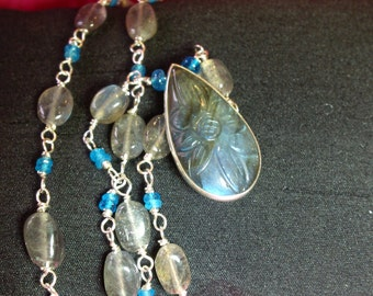 Labradorite, Apatite and Silver wire necklace handmade