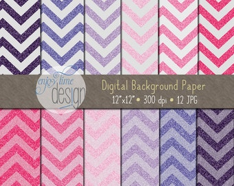 INSTANT DOWNLOAD - Digital Papers Set - Chevron Glitter - E201