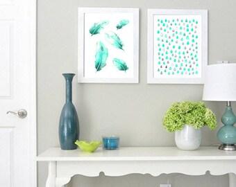 Set of 2 Original Abstract Watercolor Painting Art Prints, Aqua Watercolor, Home Decor Art, Wall Art, Modern Art, Aqua Feathers, Aqua Rain