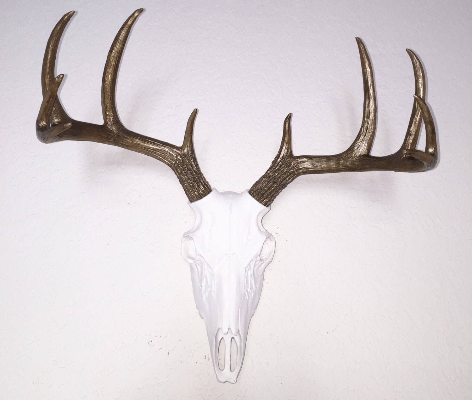 Deer Mount Wall Decor : Any color faux deer skull wall mount bronze white