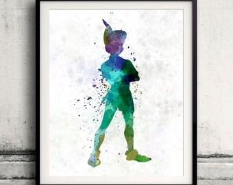 Peter Pan Fine Art Print Glicee Disney Cartoon Poster Decor Home Watercolor Nursery Gift Room Children's Wall Art Illustration - SKU 0803