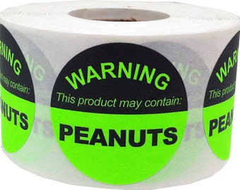 "This Product May Contain PEANUTS | Allergy Warning Labels - 1.5"" Round - 500 Stickers"